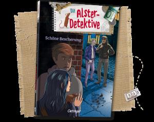 Buch Schöne Bescherung; Auf dem Cover sieht man Zwei Detektive, die hinter einer Häuserecke die Täter beobachten.